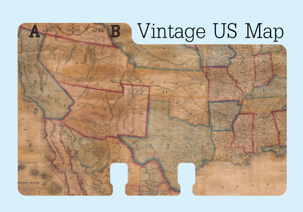 A sturdy Rolodex divider in a tan, red, blue and yellow print of a vintage map.