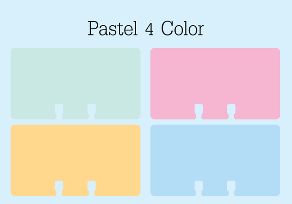 Mini Rolodex Cards - Pastel 4 Color: This picture shows four tiny Rolodex refill cards in green, pink, orange, and blue