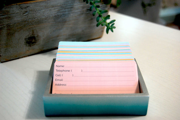 Pretty Pastel Rolodex Refill Cards in six colors in a Rolodex Holder on a desk. There is a succulent plant in the background.