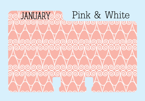 January Rolodex Divider in a pink and white print