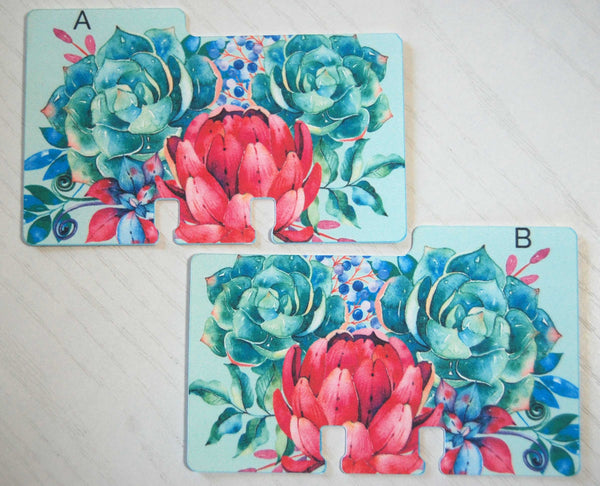 Two printed alphabet Rolodex dividers in a floral print. The A and B divider are in colors of mint, green, blue , pink and purple.