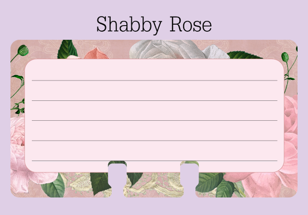 Shabby Rose Ruled Rolodex Refill - The center is pale pink with 5 gray lines for writing. The outer border is a vintage rose print  with texture and lace in pinks, greens and shades of white.