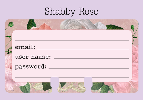 Rolodex card in a pretty vintage rose print in pink, beige, and green. There are places to write your email, user name, and password.