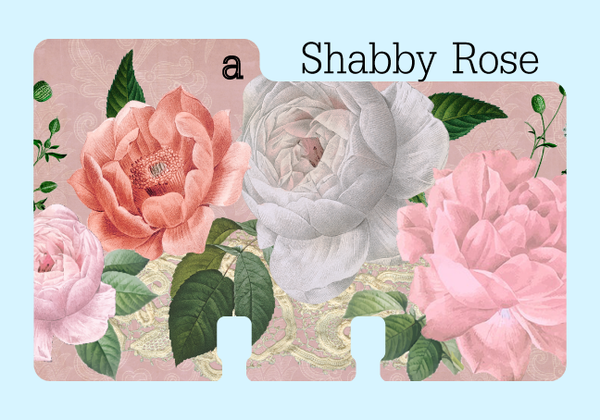 "A Rolodex Divider in a vintage cabbage rose print in pink and cream and green. It is on a pale blue background with the word ""Shabby Rose."""