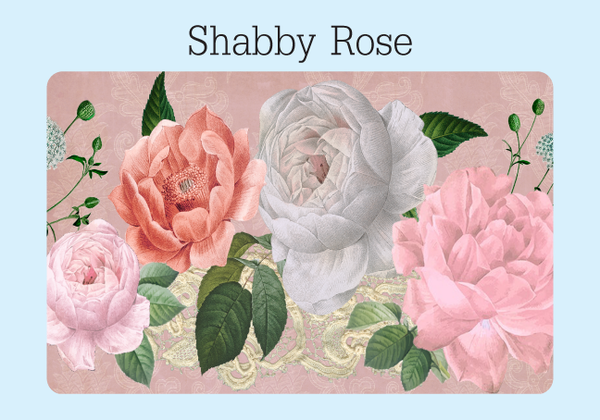 The front cover of the Shabby Rose password keeper. There are four vintage cabbage roses with leaves and lace and a paisley pink background.