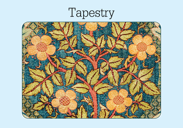 The front of a William Morris tapestry print password keeper. The threads of the fabric are visible in a blue background with orange and yellow flowers, stems and green leaves.