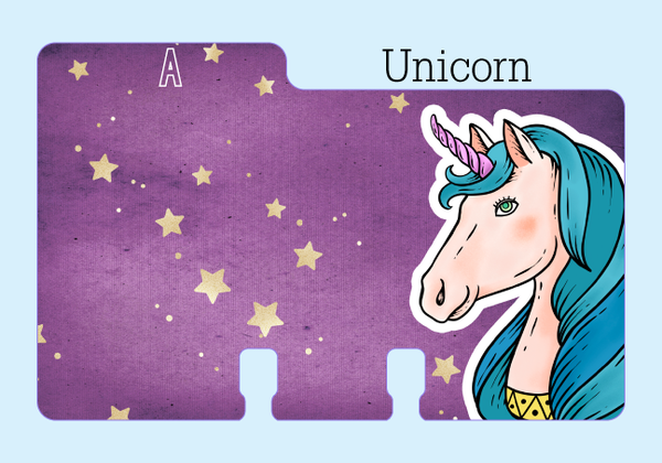 "A Purple Rolodex Divider with a Unicorn head along the side. The unicorn has blue hair and a pink horn. It is on a pale blue background with the word ""Unicorn."""