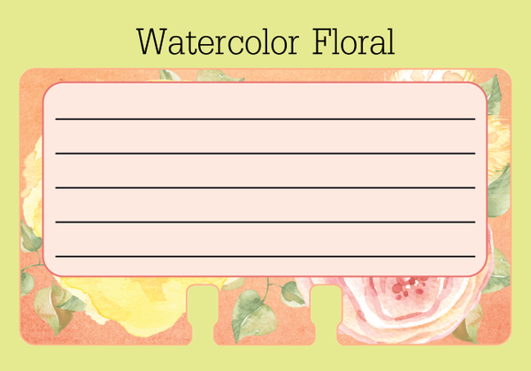 Watercolor Floral Lined Rolodex Refill Card - the center is pale pink with 5 lines for writing. The border is a floral print in coral, yellow, green and pink watercolor.