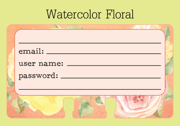 Rolodex cards with lines for the site/software, email address, user name, password, and other lines- in a pretty floral watercolor print