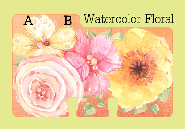 A sturdy Rolodex Divider (A,B) in a pretty pink and coral and yellow floral print.