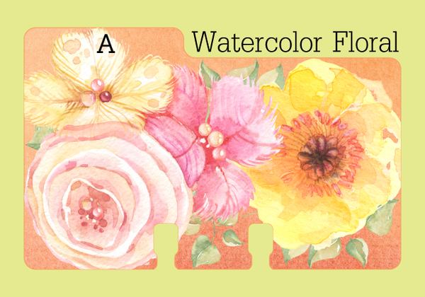"A Rolodex Divider in a floral  watercolor print in pink and yellow with touches of white and green leaves on a coral background. The divider is on a pale green background with the word ""Watercolor Floral."""