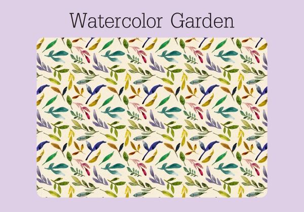 The cover of a colorful watercolor garden password keeper on a ring. The ecru background has a a colorful pattern of orange, yellow, pink, green and purple leaves.