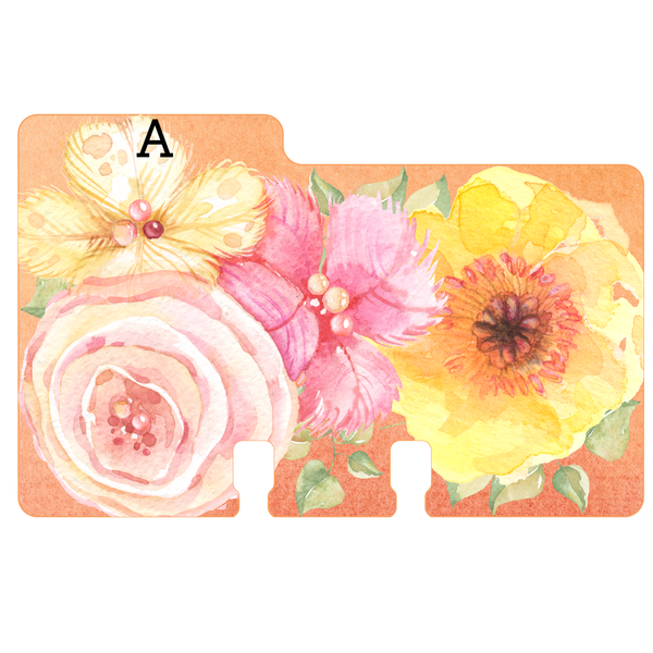 "A sturdy Rolodex divider in a pink, yellow, peach watercolor print with the letter ""A"" on it"