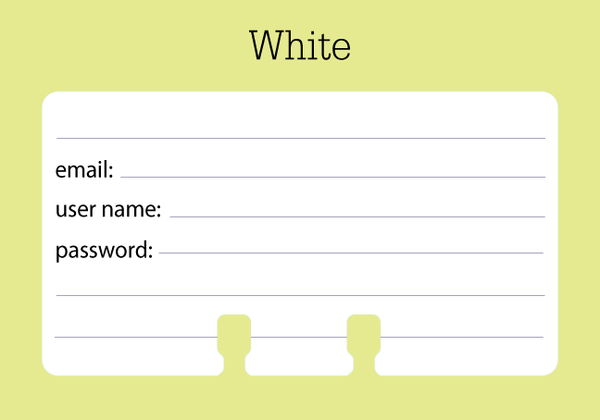 A white password Rolodex card with black writing. There are lines and places to write email, user name, and password