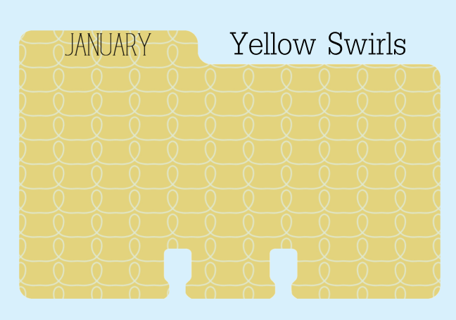 January Rolodex Divider in A Yellow Print with White Swirls
