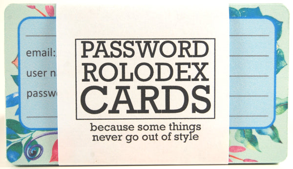 "Pretty Rolodex cards in a wrapper that says ""Password Rolodex Cards - because some things never go out of style"""
