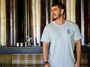 Men's Tee - Light Blue - Helmsman Logo