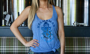 Women's Racer Back Tank - Light Blue - Helmsman Logo