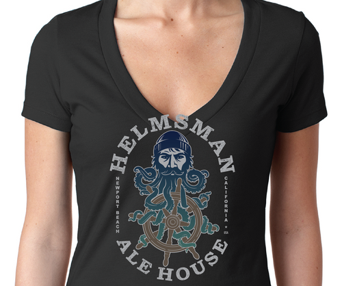 Women's V-Neck-Helmsman Logo Black