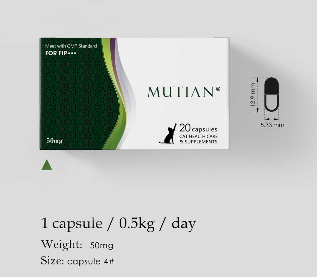 MUTIAN® Cat Healthcare Supplements - 1 capsule of 50 MG