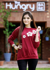 front fllower Printed Sweatshirt - Mart of Fashion