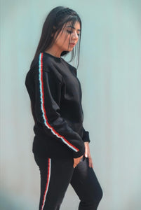 Black Stripe Tracksuit - Mart of Fashion