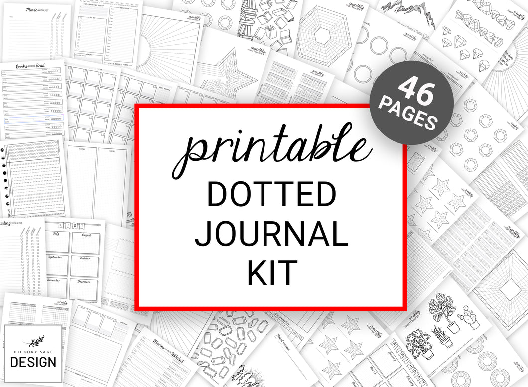 Printable Dotted Journal Kit