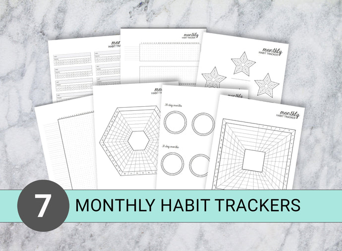 7 Monthly Habit Trackers (Set B)