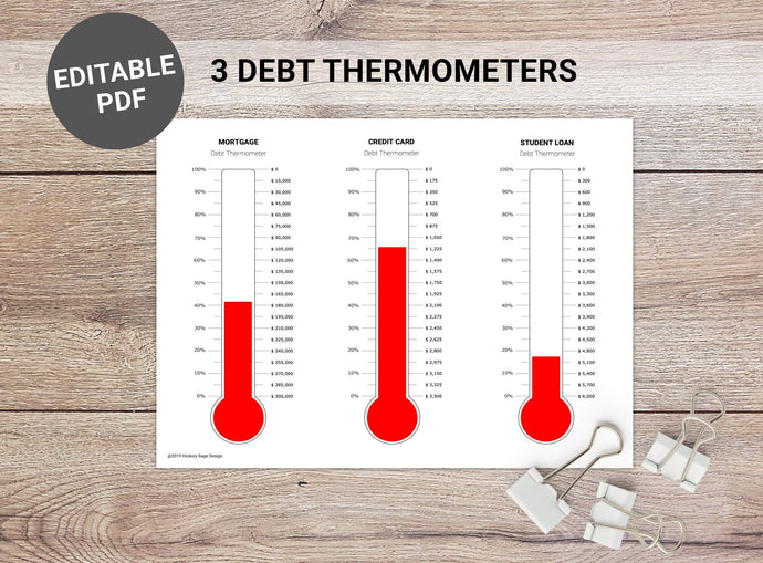 3 Debt Thermometers (Printable)