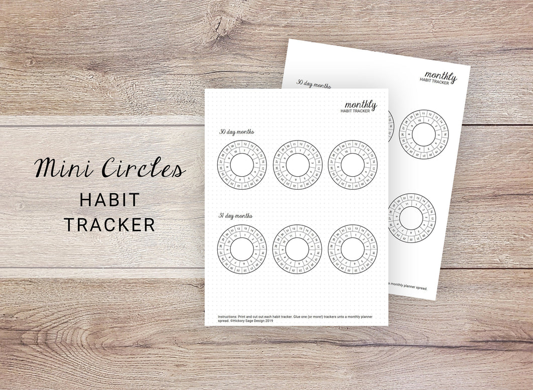 Mini Circles Habit Tracker - Monthly
