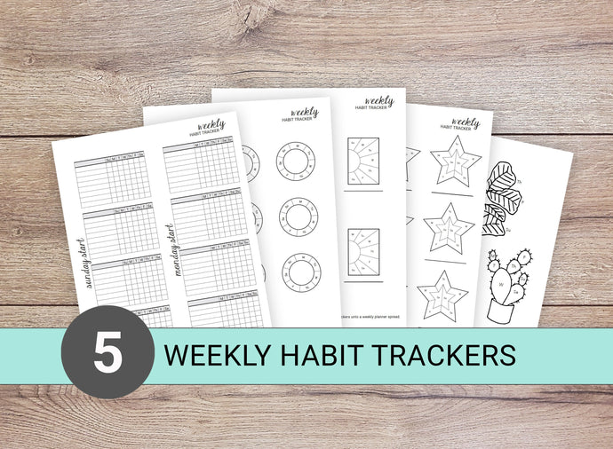 5 Weekly Habit Trackers (Set A)