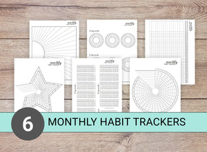 6 Monthly Habit Trackers (Set A)