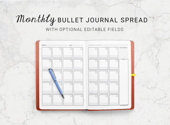 Dotted Journal Monthly Spread
