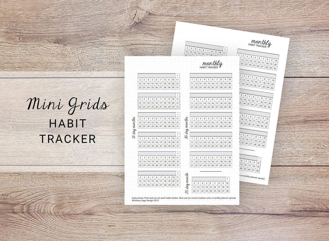 Mini Grids Habit Trackers - Monthly