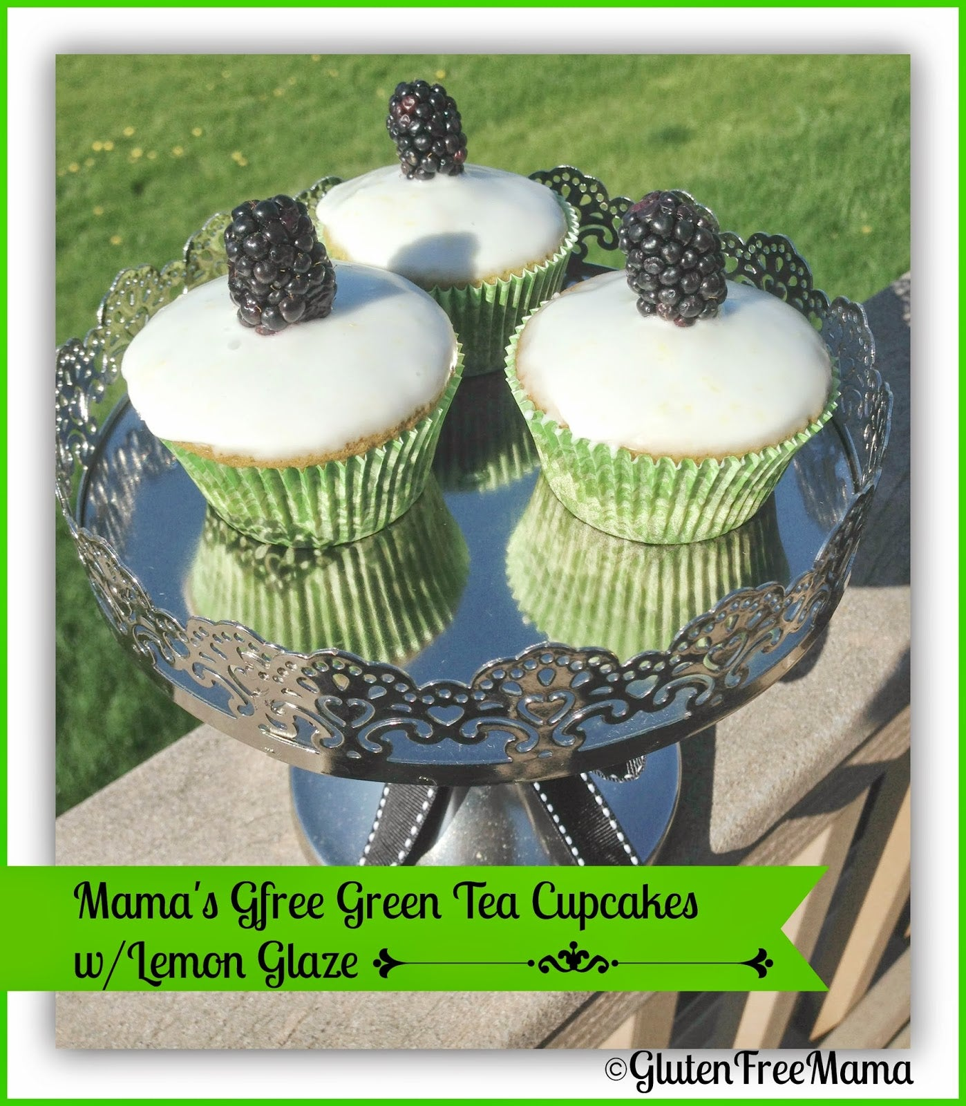 Gluten Free Green Tea Cupcakes with Lemon Glaze