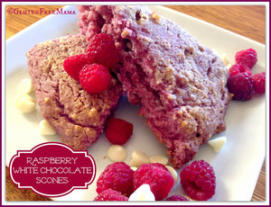 Raspberry White Chocolate Scones ~ Gluten Free & Egg Free