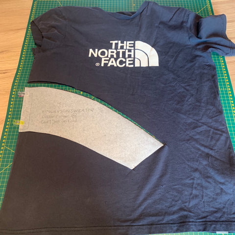 North Face t-shirt with upper collar piece cut out