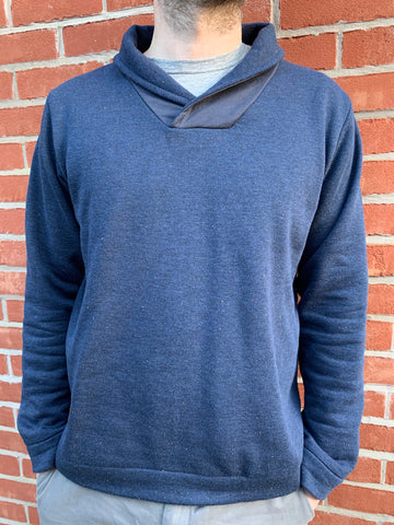 Front view of Finlayson Sweater in navy speckled sweatshirting