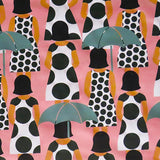 Dotty girls on a rainy day pink raincoating