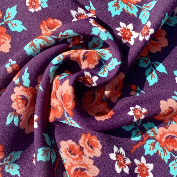 Purple floral crepe