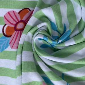 Green Stripes and Flowers Jersey