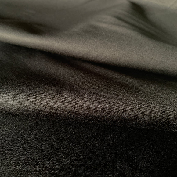 Black Stretch Cotton Satin Suiting