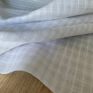 White and Lilac check textured linen cotton blend