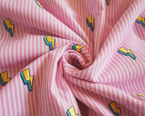 Lightning bolt embroidered cotton