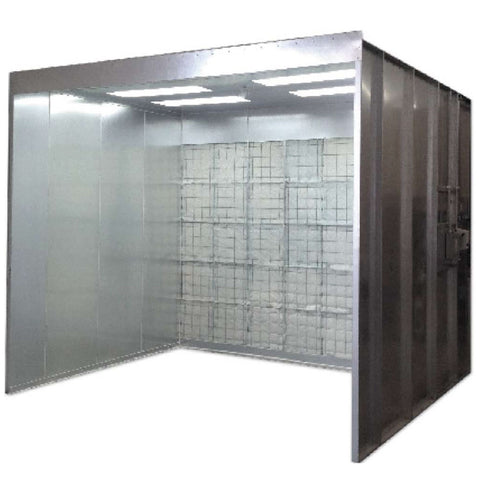 Open face spray booth for woodwork, jamming, powder­coating and more
