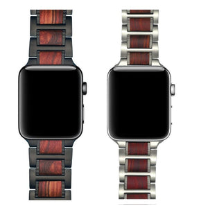Red Sandalwood + Stainless Steel Smart Watchband