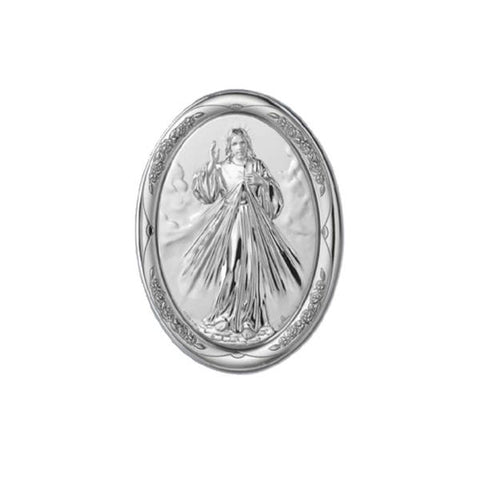 Divine Mercy Religious Picture in Sterling Silver