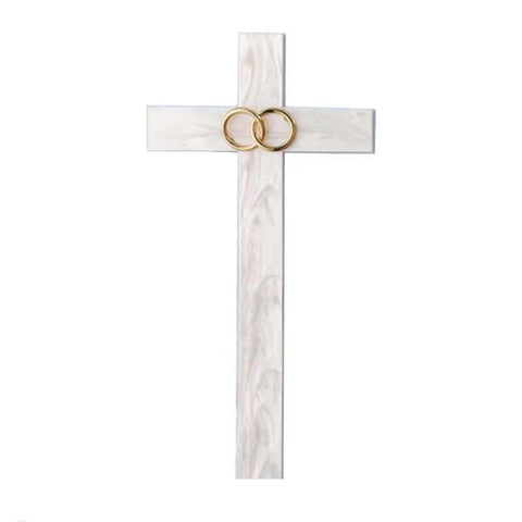 Marriage wall cross with wedding rings