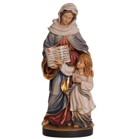 Saint Anne statue in hand-painted wood