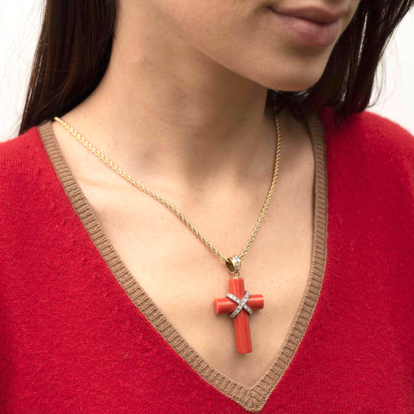 gold necklace with coral and diamonds cross